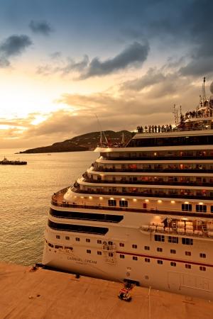 Philipsburg, St  Maarten - Jan  16, 2013   Passengers aboard the Carnival Dream enjoy the sunset view before departing from St  Maarten