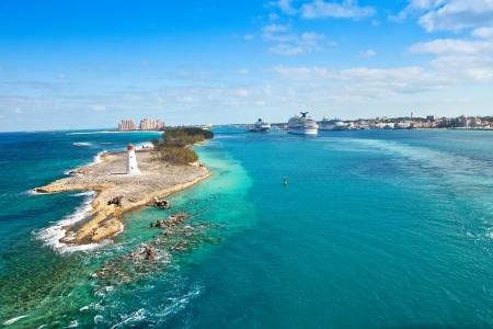Scenic view of the Nassau, Bahamas, the cruise port and Paradise Island Stockfoto