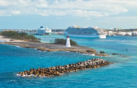 Busy cruise port in Nassau, Bahamas photo