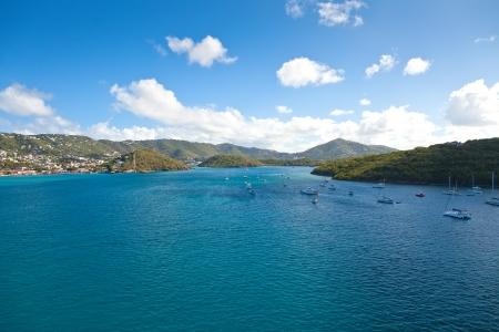 thomas: Harbor approaching St  Thomas, USVI in the Caribbean