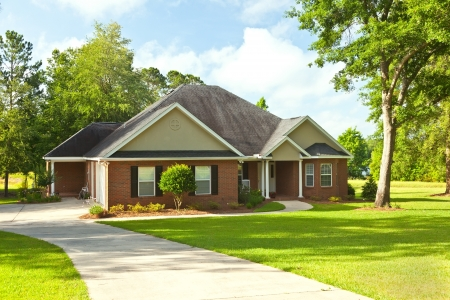 Traditional style country house with landscaping