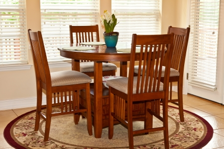 domestic kitchen: Traditional hightop table in a residential breakfast nook