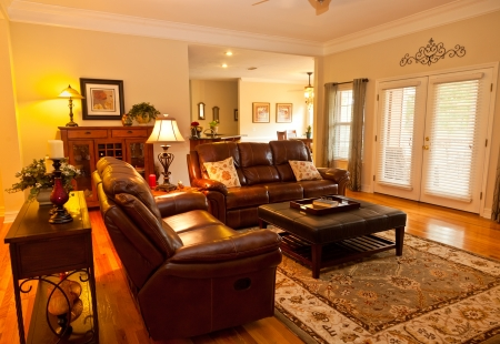 Traditional-style family room in residential house