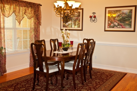 Traditional Dining Room in residential house photo