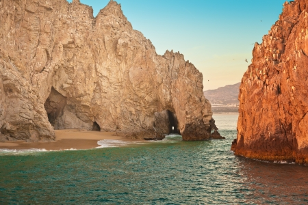 Natural rock formation called Lands End in Cabo San Lucas, Mexico Stock Photo