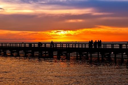 destin: Sunset on the pier in Destin, Florida