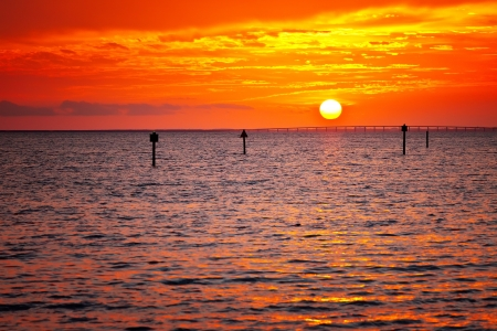 gulf of mexico: Golden sunset in Destin, over the Gulf of Mexico