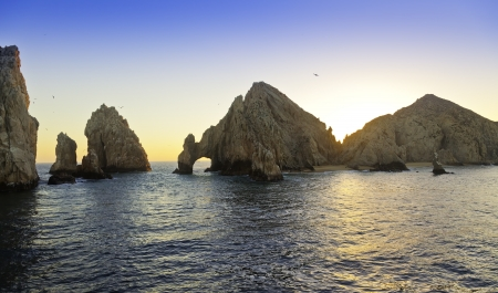 Sunset at Lands End rock formation in Cabo San Lucas, Mexico