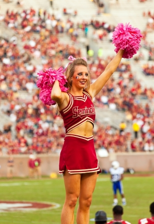 tallahassee: Tallahassee, FL - Oct. 27, 2012:  Florida State University cheerleader cheers with pink pom-poms to get crowd going at Seminoles college football game.