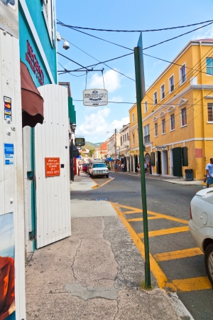 thomas: Charlotte Amalie, St  Thomas - Feb  11, 2010  Small side streets off Main Street in St  Thomas on Feb  11, 2010  Many duty free shops line the streets and alleys, a great place for bargains   Editorial