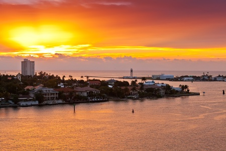 fort lauderdale: Sunrises in Port Everglades in Ft  Lauderdale, Florida Stock Photo
