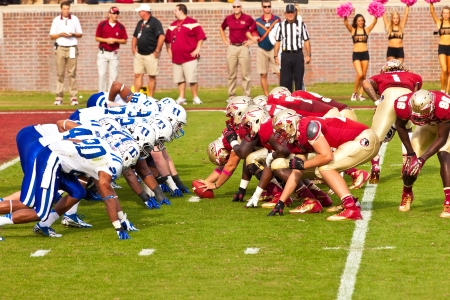 Tallahassee, FL - Oct  27, 2012   Florida State Seminole offense squares off against Duke University