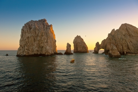 Beautiful Land's End in Cabo San Lucas, Mexico at sunset Stockfoto