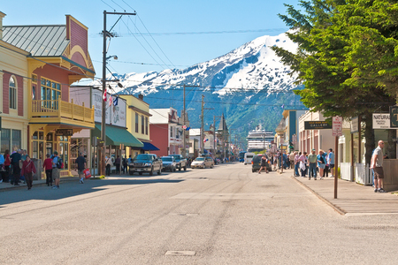 Skagway, Alaska - June 2, 2009: Skagway is a popular port for cruise ships, and the tourist trade is a big part  of Skagways economics.  During the summer months, Skagway receives more than 800,000 visitors from cruise ships.