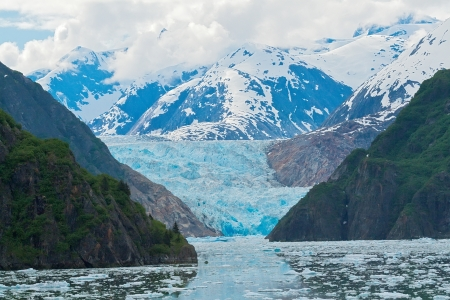 sawyer: Sawyer Glacier sits at the end of Tracy Arm Fjord, Alaska Stock Photo