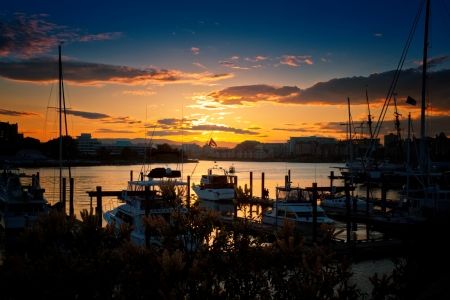 bc: Marina at sunset in Victoria, British Columbia Stock Photo