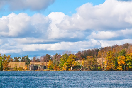 An autumn landscape over a lake in upstate New York