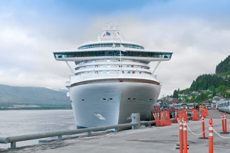 Luxury cruise ship anchored in the port of Ketchikan, Alaska photo