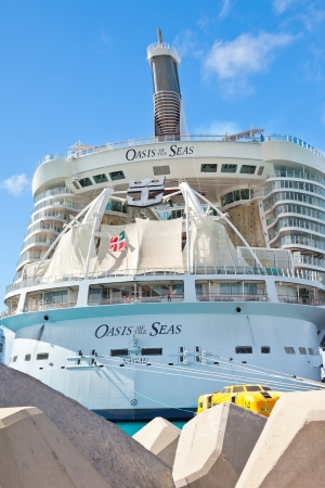 Philipsburg, St. Maarten - Jan. 16, 2013:  Royal Caribbeans, Oasis of the Seas, anchored in St. Maarten.  The ship was built in 2009 and can carry a record breaking 6,000 passengers. photo