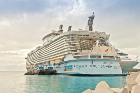 Philipsburg, St. Maarten - Jan. 16, 2013:  Royal Caribbeans, Oasis of the Seas, anchored in St. Maarten.  The ship was built in 2009 and can carry a record breaking 6,000 passengers.