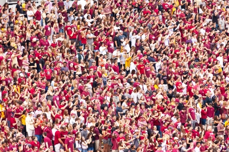 crowd cheering: Tallahassee, FL - Nov. 16, 2013:  Florida State fans cheering for the FSU Seminole football team during a game against Syracuse University at Doak Campbell Stadium. Editorial