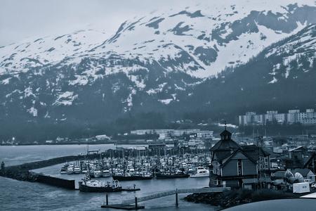 dreary: Little fishing village of Whittier, Alaska