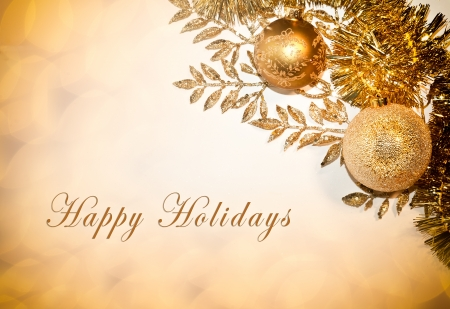 holidays: Decorative card with Happy Holidays text, balls and glitter Stock Photo