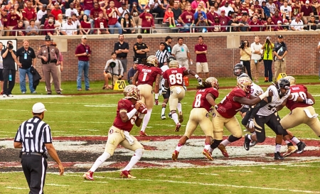 tallahassee: Tallahassee, FL - Nov. 23, 2013:  Florida State Quarterback, Jameis Winston, steps back to throw a pass down field at a home game against the Idaho Vandals at Doak Campbell Stadium. Editorial