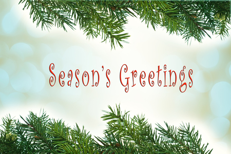 Christmas card with green pine branches and Seasons Greetings text