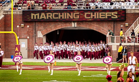 chiefs: Tallahassee, FL - Nov. 23, 2013:  The Marching Chiefs are the official marching band for Florida State University.  They take the field at half-time during a home football game against the Idaho Vandals. The Marching Chiefs consists of students from almos
