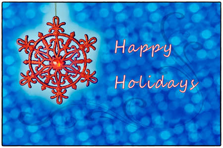 happy holidays text: Christmas card with blue and Happy Holidays text