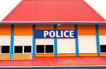 Colorful Police station in a tropical Caribbean island