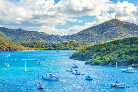 Busy harbor in St. Thomas, Virgin Islands, Caribbean