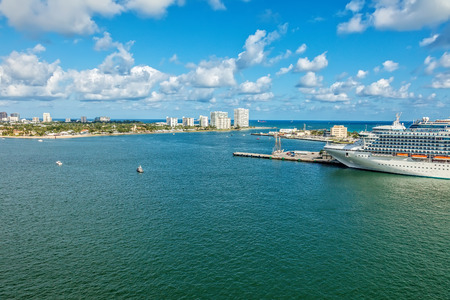 Aerial view of Ft. Lauderdale and Port Everglades along the intercoastal waterway.