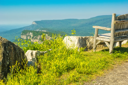 View of the Hudson Valley and the Shawangunk Mountains in upstate New York. Stock Photo