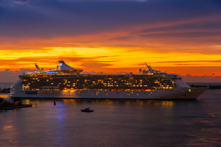 Fort Lauderdale, FL - Feb. 14, 2010:  Royal Caribbeans ship return to Port Everglades after a Caribbean cruise.  Port Everglades is the gateway for international trade and cruise vacations and is currently the third busiest cruise port worldwide.