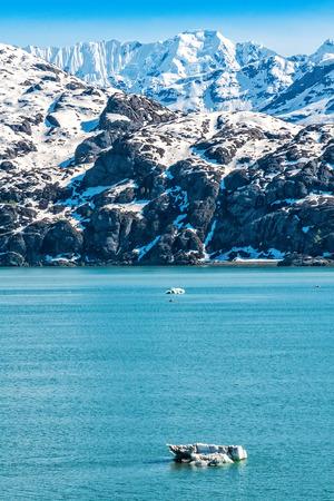 alaska scenic: Scenic view of the mountain range in Glacier Bay National Park, Alaska