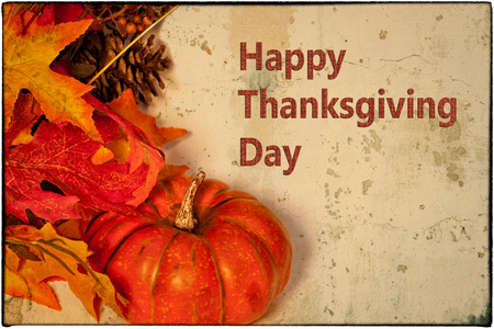 holidays: A Happy Thanksgiving card, with autumn decorations and text