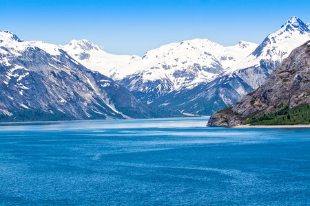 Mountain range and ocean waters in Glacier Bay National Park, Alaska