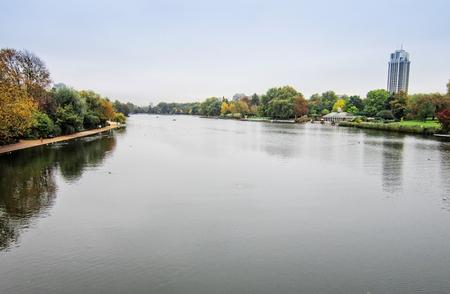 meanders: The Serpentine Lake as is meanders through Hyde Park, London.