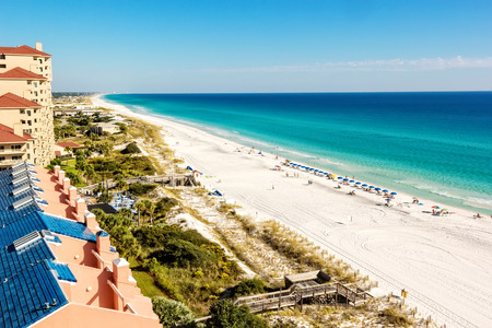 destin: Long stretch of Miramar Beach in Destin Stock Photo