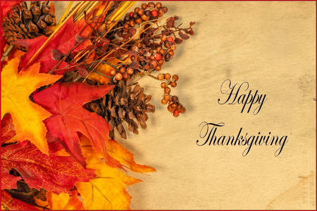 fondo para tarjetas: Una tarjeta feliz de Acci�n de Gracias, con decoraciones de oto�o y texto