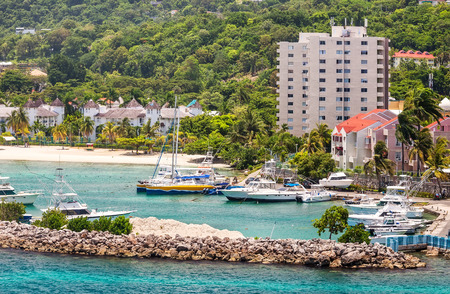 Boat marina and harbor in the tropical island of Jamaica
