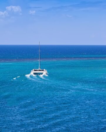 Catamaran sailing on the Caribbean Sea in Jamaica