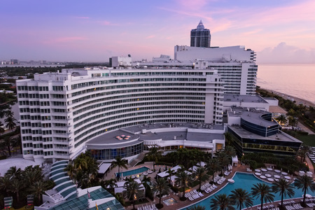 oceanfront: Miami, FL, USA - Mar. 15, 2015:  Morning view of the luxurious and historic Fontainebleau Resort.  This oceanfront resort in South Beach made its debut in 1954 and continues to attract the rich and famous. Editorial