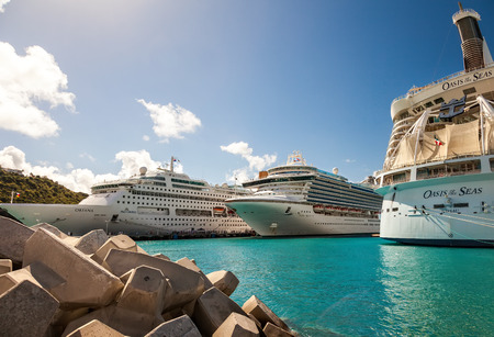 Philipsburg, St. Maarten - Jan. 16, 2013:  Man cruise ships anchored in the port of St. Maarten, a Caribean island and a popular cruise destination.