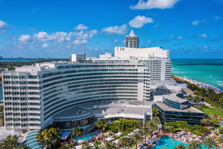 oceanfront: Miami, FL, USA - Mar. 14, 2015:  Scenic view of the luxurious and historic Fontainebleau Resort.  This oceanfront resort in South Beach made it Editorial