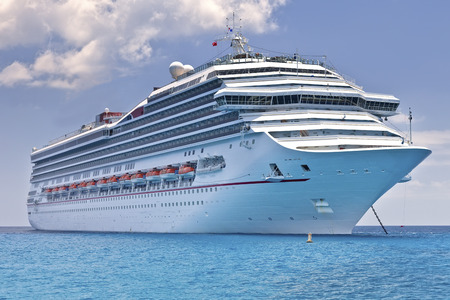 liner transportation: Cruise ship anchored in the Caribbean Sea