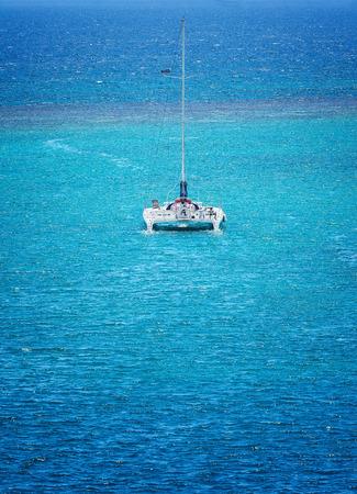 Catamaran sails on the Caribbean Sea in Ocho Rios, Jamaica