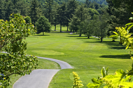 courses: Long stretch of fairway at golf course in western North Carolina